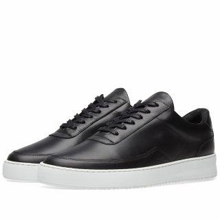 Filling Pieces Low Mondo Ripple Nardo Nappa Leather Sneaker (Black)