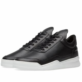 Filling Pieces Low Top Ghost Nappa Perforated Leather Sneaker (Black)
