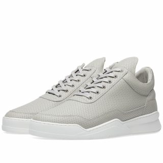 Filling Pieces Low Top Ghost Nappa Perforated Leather Sneaker (Grey)