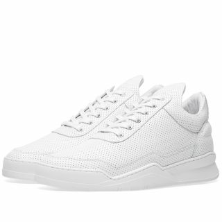 Filling Pieces Low Top Ghost Nappa Perforated Leather Sneaker (White)