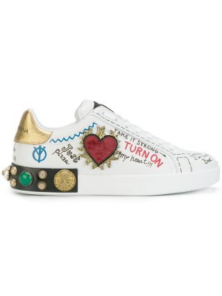 Dolce & Gabbana customised low top sneakers (wit)