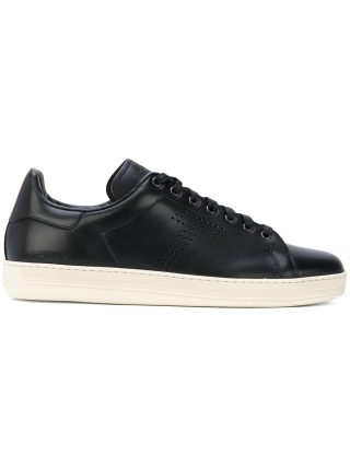 Tom Ford perforated 'T' lace-up sneakers (zwart)