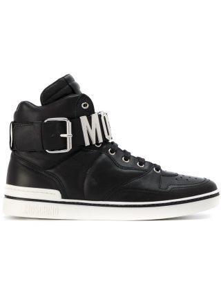 Moschino logo hi-top sneakers (zwart)
