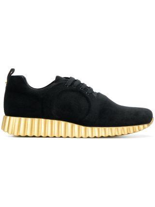 Salvatore Ferragamo metallic platform sneakers (zwart)