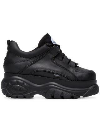Buffalo Black 1339 platform sneakers (zwart)