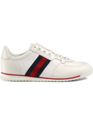 Gucci Leather sneakers with Web - White