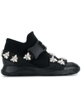 Christopher Kane safety buckle hi-top sneakers with crystals (zwart)