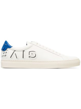 Givenchy white and blue urban street logo applique leather sneakers