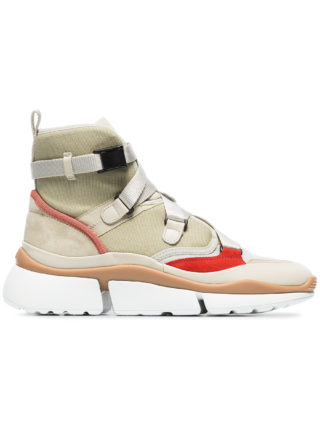 Chloé beige, grey and red sonnie suede leather and mesh high top sneakers (Overige kleuren)