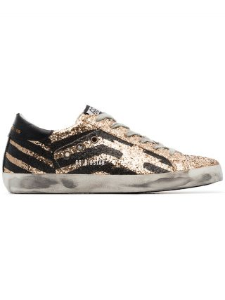 Golden Goose Deluxe Brand black and metallic gold superstar leather sneakers