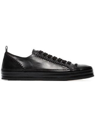 Ann Demeulemeester Leather Stitch Detail Sneakers (zwart)