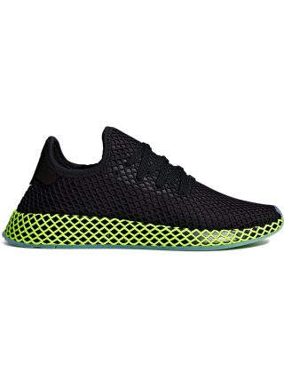 Adidas black and green deerupt runner sneakers