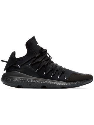 Y-3 black leather Kusari sneaker