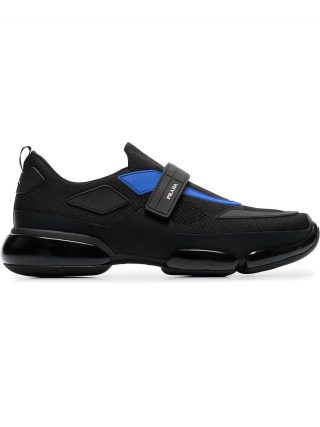 Prada black and blue Cloudbust leather sneakers (zwart)