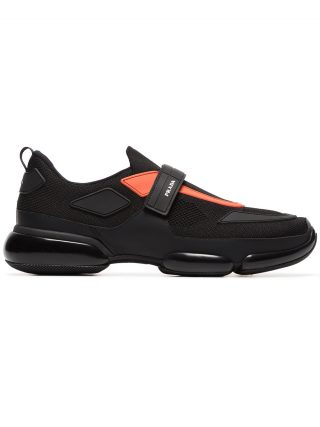Prada black and orange Cloudbust leather sneakers