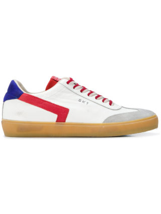 Leather Crown contrast lace-up sneakers (wit)