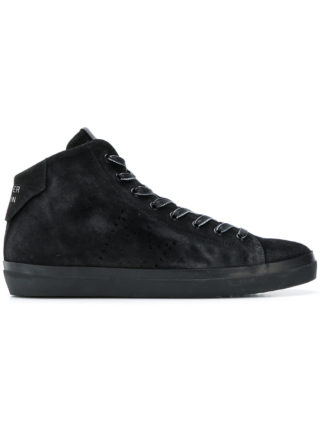 Leather Crown smooth lace-up sneakers (zwart)