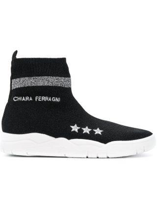 Chiara Ferragni sock sneakers (zwart)