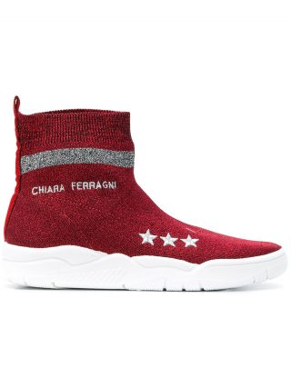 Chiara Ferragni logo sock sneakers (rood)