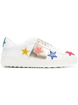 Valentino star embellished sneakers - White
