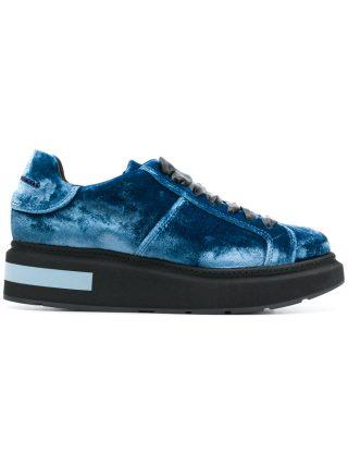 Manuel Barceló lace-up velvet trainers (blauw)
