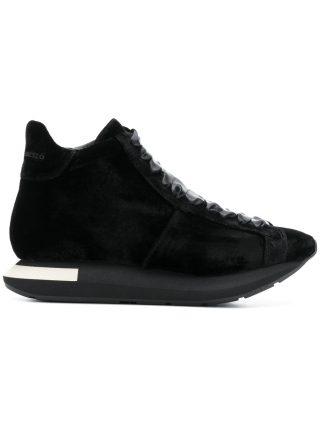 Manuel Barceló lace-up velvet trainers (zwart)