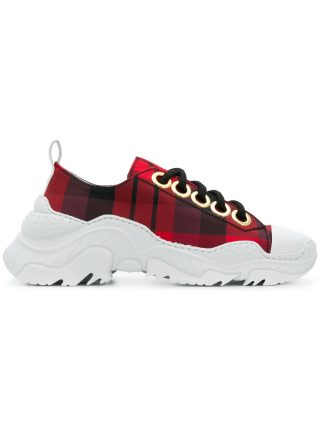 Nº21 chunky sole check sneakers (rood)