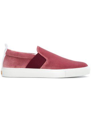 Closed velvet slip-on sneakers (rood)