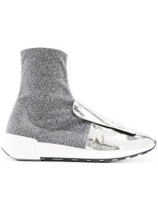 Sergio Rossi metallic sock-style sneakers (zilver)
