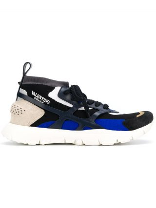 Valentino panelled lace-up sneakers (blauw)