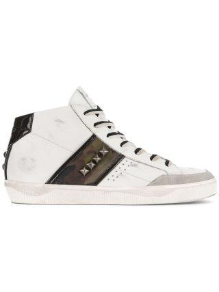 Leather Crown hi-top sneakers (wit)