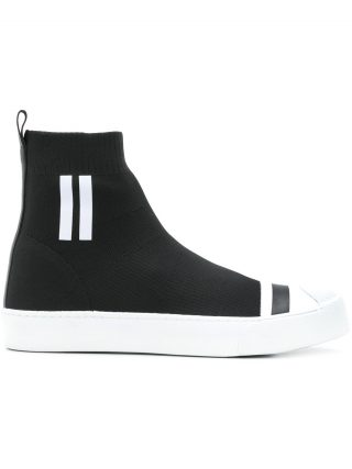 Neil Barrett side stripe hi top sneakers (zwart)