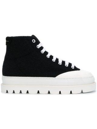 Mm6 Maison Margiela platform sole mid sneakers (zwart)