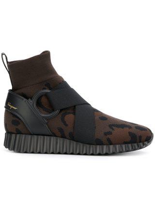 Salvatore Ferragamo leopard sock sneakers (bruin)