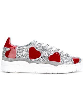 Chiara Ferragni glitter hearts sneakers (zilver)
