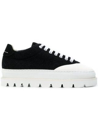 Mm6 Maison Margiela ridged sole sneakers (zwart)