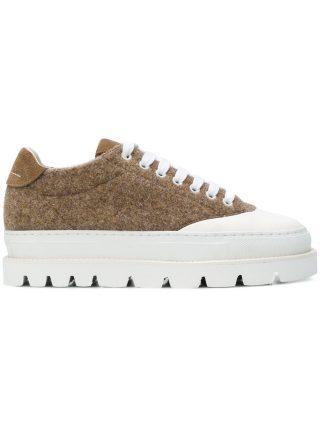 Mm6 Maison Margiela ridged sole sneakers (bruin)