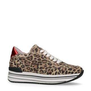 Sacha leren sneakers met luipaardprint (bruin)