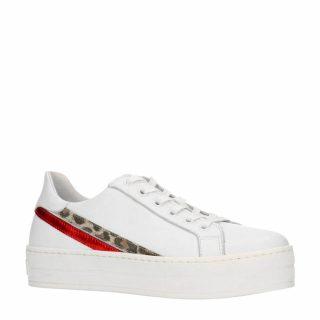 Manfield leren plateau sneakers (wit)