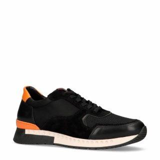 Manfield leren sneakers met suède zwart (heren) (zwart)