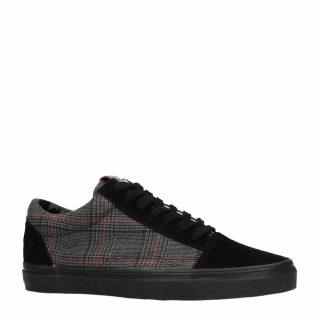 Sacha geruite sneakers met suède zwart (zwart)