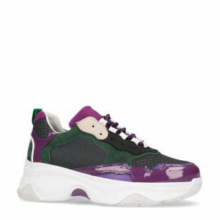 Sacha leren sneakers groen/paars (dames) (groen)