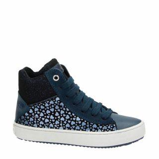 Geox leren sneakers met glitters donkerblauw (meisjes) (blauw)