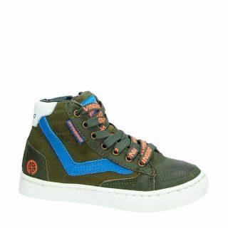 Vingino leren sneakers kaki jongens (groen)