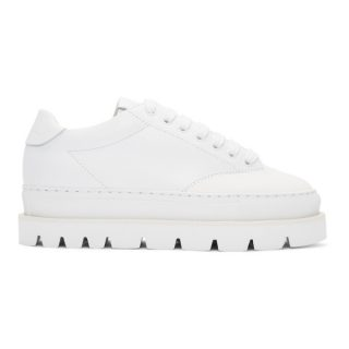 MM6 Maison Martin Margiela White Leather Platform Sneakers