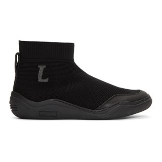 Lanvin Black Mid-Top Sock Sneakers