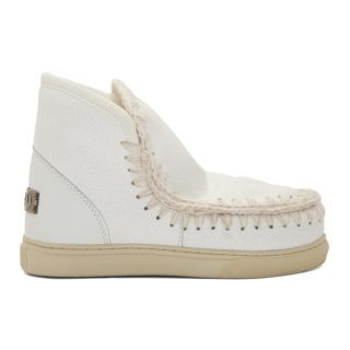 Mou White Cracked Mini Eskimo Sneaker Boots