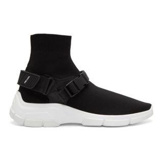 Prada Black Buckled Sock High-Top Sneakers