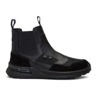 Prada Black Leather High-Top Sneakers