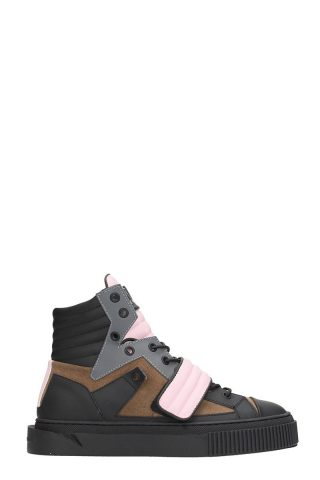 Gienchi Gienchi Hypnos Black Brown Leather And Suede Sneakers (zwart)